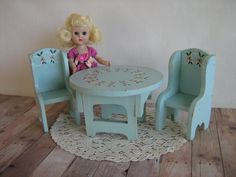 Vintage Wooden Table and Chairs Set for 8 Dolls  Play by TheToyBox