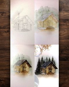 44 ideas painting art illustrations artists for 2019 Watercolor Art Paintings, Watercolor Painting Techniques, Watercolor Drawing, Artist Painting, Watercolor Illustration, Painting & Drawing, Landscape Paintings, Painting Process, Watercolor Water