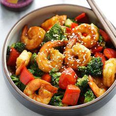 Juicy shrimp stir-fry with San-J Hoisin Sauce and healthy broccoli. The easiest dinner for the entire family