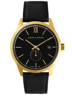 Larsson & Jennings - Black and Gold 39mm Saxon Watch by Larsson &…