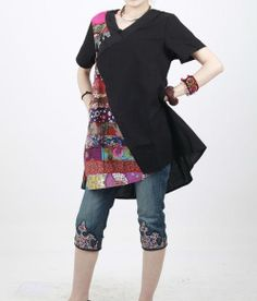 black linen patchwork shirt by MaLieb on Etsy, $69.00