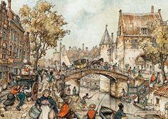 Anton Pieck — Мост в Утрехте