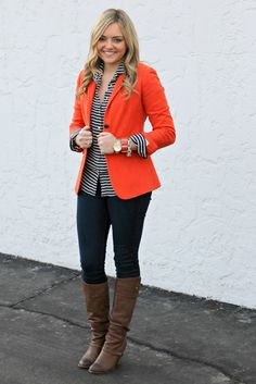 I'm very drawn to colored blazers right now. Great way to bring color into Winter. Source by skcal outfits Orange Blazer Outfits, Striped Blazer, Colored Blazer, Fall Winter Outfits, Autumn Winter Fashion, Blazers, Mode Outfits, Classy Outfits, Passion For Fashion
