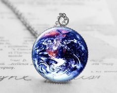 Earth Necklace, Space Jewelry, Galaxy Jewelry, Space Pendant, Valentines Day Gift, Solar System Jewelry N023