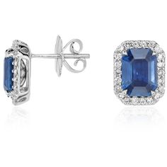 Blue Nile Emerald Cut Sapphire and Diamond Halo Earrings in 18k White... ($7,500) ❤ liked on Polyvore