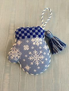 Cutest snowflake mitten ornament ~ needlepoint canvas by Burnett & Bradley (formerly ACOD - A Collection of Designs)