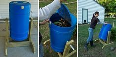 How to create our rotating composter by recycling materials - All About Diy Compost Tumbler, Tumbling Composter, Green Tips, Plant Care, Permaculture, Garden Hose, Recycled Materials, Agriculture, Pergola