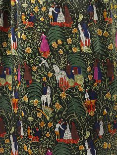 """Bois de Boulogne"" (detail 2) Paul Poiret (French, Paris 1879–1944 Paris) Designer: Textile by Raoul Dufy (French, Le Havre 1877–1953 Forcalquier) Manufacturer: Textile by Bianchini-Férier (French, founded Lyons, 1888) Date: 1919 Culture: French Medium: a–c) silk Dimensions: Length at CB (a): 51 1/2 in. (130.8 cm) Length at CB (b): 36 in. (91.4 cm) Length (c): 55 in. (139.7 cm) Credit Line: Millia Davenport and Zipporah Fleisher Fund, 2005 Accession Number: 2005.197a–c"