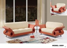 Global Furniture 559 Leather And Leather Match Sofa In Beige And Orange