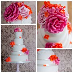 Orange & Pink Combination Wedding Cake by Couture Cake Design   http://www.couturecakedesign.co.uk/