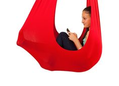 InYard provides sensory swing in red designed for children with special needs. It provides calming effect for kids with SPD, Asperger, and Autism. Buy this indoor hammock for kids from our online store today. Kids Hammock, Hammock Swing Chair, Outdoor Hammock, Kids Swing, Swinging Chair, Hammocks, Baby Hammock, Hammock Stand, Outdoor Camping