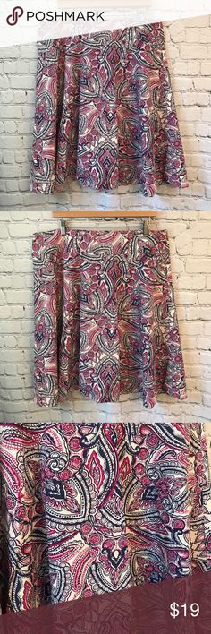 "Talbots Floral print plus size A-Line skirt New condition Plus size Floral Print Colors Pink Blue White Size 16  Waistline laying flat 19"" Top of skirt to Bottom of skirt 26"" Zipper closure  Material 100% Cotton Bin 12 Talbots Skirts A-Line or Full"