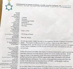 Slovenská židovská komunitanedoručila peniaze určené obetiam holokaustu Germany, Deutsch