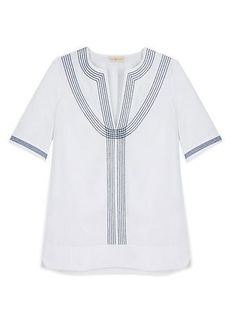 Tory Burch Embroidered Poplin Relaxed Tunic