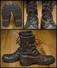 US Combat boots from 1993, used and abused the right way. Perfectly rugged.