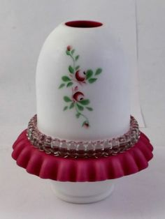 Vintage 3 PC Fenton Cranberry Cased Fairy Lamp Hand Painted for L G Wright