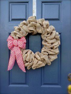 Burlap Wreath with Chevron Bow  Chevron by WreathsByRebeccaB, $41.00