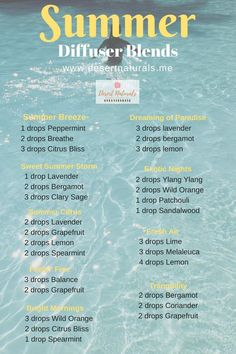 Summer diffuser blends for every mood. Essential oil diffuser blends for summertime will make your home smell fantastic. No synthetic air freshener sprays. Essential Oils Guide, Essential Oil Uses, Doterra Essential Oils, Doterra Oil, Nars Cosmetics, Essential Oil Combinations, Essential Oil Diffuser Blends, Doterra Diffuser, Diffuser Recipes