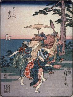 Utagawa Hiroshige: Kurasawa Dancers at Yui (Yui kurasawa odori), no. 17 from a series of Fifty-three Stations of the Tokaido (Gojusantsugi) - Legion of Honor