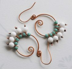 Mint Green White Jade Bead Copper Wire Wrapped Spiral Unique Summer Earrings
