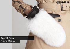 White Fox Fur Mittens