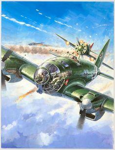 "Lucio Perinotto - illustration originale intitulée ""He 111 v"