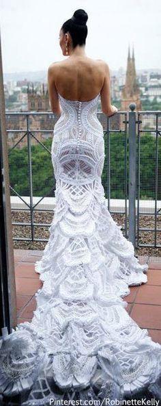 Dream Wedding Dress- Long trail. white, lace, fish tail.