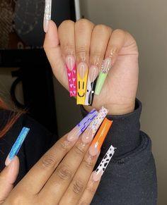 Classy Acrylic Nails, Long Square Acrylic Nails, Bling Acrylic Nails, Cute Acrylic Nail Designs, Best Acrylic Nails, Drip Nails, Aycrlic Nails, Swag Nails, Hair And Nails