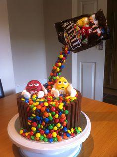Gravity defying chocolate m&m cake