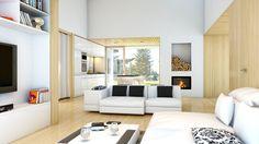 design.126 Bungalow im Inneren. #architektur #holzhaus #designhaus #holzbauweise Bungalow, Loft, Lounge, Bed, Furniture, Home Decor, House Design, Architecture, Airport Lounge