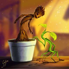 Groot / Bowtruckle  http://solidbubble.deviantart.com/art/Tree-buddies-650850783?q=DeathLawliet%2F71556096&qo=15