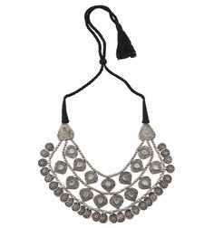 Silver Oxidised Textured Leafy Charm Drop Interlinked Necklace
