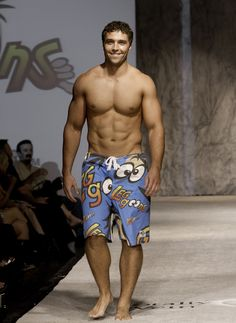 Our Blue Leggoons hit the runway looking fabulous! Click here http://leggoons.myshopify.com/collections/frontpage/products/blue-leggoons to order your own Blue Leggoons board shorts! They are a steal at $35.00 each. Model not included.