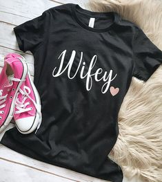 Wifey - wifey Shirt - Gifts for Her - Wife Spoiled - Graphic Tee - Trendy - Woman's Shirt - Tee - Girls Cute Graphic Tees, Wedding Shirts, Tees For Women, Couple Shirts, Muscle Tees, Cute Tops, Gifts For Her, How To Make, How To Wear