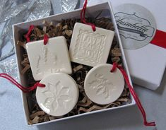 4 Miniature Square and Round Christmas Ornaments or by Susabellas, $22.00