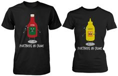 Cute Matching Couple Shirts - Ketchup and Mustard - Gifts for Couples