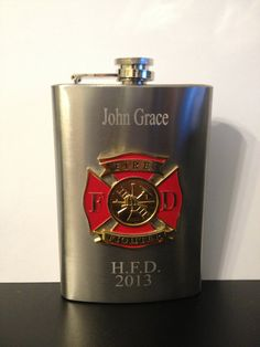 Fireman Flask , Firefighter Flask , Fire Fighter Flask 8oz  Stainless Steel Chrome Retirement Memorial  Free Engraving Custom Personalized on Etsy, $12.99