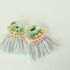 Bijou fringe earrings《グリーン》 | chouchou