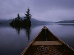A Canoe Ride on a Cloudy Morning on a Quite Lake Photographic Print by Taylor S. Kennedy at AllPosters.com
