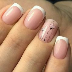 Nails design short nails French manicure light strip pink nail polish flower figure poppy all for manicure sevtao.ru