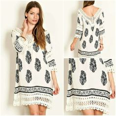 """Ivory Poncho Lace Dress Floral paisley border print woven poncho dress with super soft lace crochet knit fringe hem and neck detail.  Dress is not lined and somewhat sheer.  Small - Length 35.5"""", Bust 38"""" Medium - Length 36"""", Bust 40"""" Large - Length 36.5"""", Bust 42""""  100% Cotton Dresses Mini"""