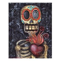 My Sacred Heart by Abril Andrade Day of the Dead Fine Art Print.Abril Andrade Griffith studied at a fine art school in Lleida, Spain. Influenced by the Gothic Subculture and childrens illustrations, Abril created a fantasy world of surreal creatures with enormous eyes. Her preferred mediums are acrylics and oil base cremes. She was inspired by Salvador Dali, Joe Capobiano, Frida Kahlo, and Octavio Ocampo.