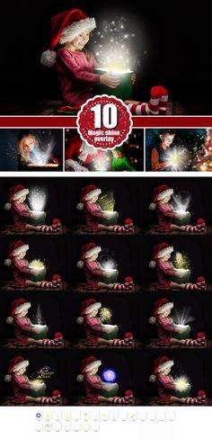 magic shine box, christmas present, Photoshop Overlays, Fantasy christmas Photo overlays, sparkles of light magic effect,