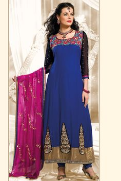 Designer Embroidered Party Lawn Kameez; Dark Blue Faux Georgette and Chiffon Embroidered Party and Festival Lawn Kameez