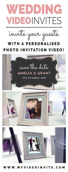 Amaze friends and family with a personalised wedding video invite. A beautiful and memorable way to send those save the dates. All wedding invite videos are fully personalised with your wedding day details. Wedding Frames, Diy Wedding, Wedding Gifts, Wedding Venues, Wedding Day, Luxury Wedding, Dream Wedding, Wedding Dress, Wedding Invitation Video