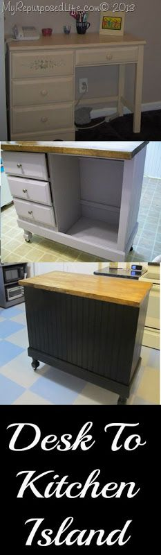 DIY Kitchen Island - leave the right drawer intact for more utensil or cutlery storage. the tall section ideal for recycling cans. add hooks and rails around sides and back for even more convenience. knee-hole desk will provide double the drawer space! Refurbished Furniture, Repurposed Furniture, Furniture Makeover, Chair Makeover, Furniture Projects, Home Projects, Diy Furniture, Kitchen Furniture, Unique Furniture