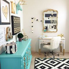 MY ROOM BUT PINK PLEASE Gold Nursery Design - we LOVE the turquoise accents! We love the painted furniture, that aqua dresser, gold dipped vanity, and gold mirror! My New Room, My Room, Dorm Room, Gold Kindergarten, Aqua Nursery, Gold Rooms, Big Girl Rooms, Nursery Design, Bedroom Decor