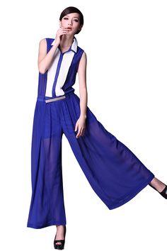 Blue Lapel Sleeveless Sheer Belt Jumpsuits