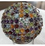 109.00 Grams 925 Sterling Silver Ball studded with natural semi precious Gemstones