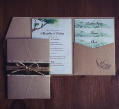 Woodland pocket wallet wedding invitation. Whimsical and gorgeous with burlap, rustic string wrap and gold tree charm.